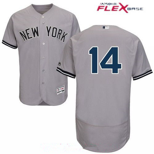 Men's New York Yankees #14 Starlin Castro Gray Road Stitched MLB Majestic Flex Base Jersey