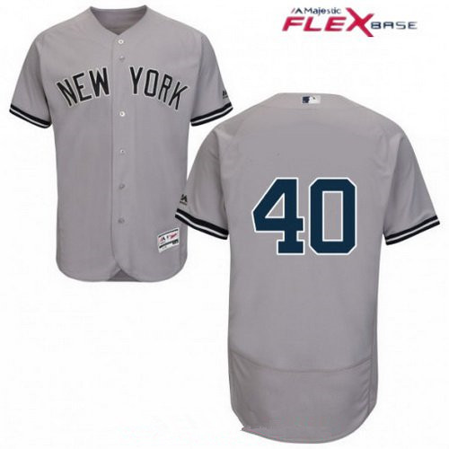 Men's New York Yankees #40 Luis Severino Gray Road Stitched MLB Majestic Flex Base Jersey