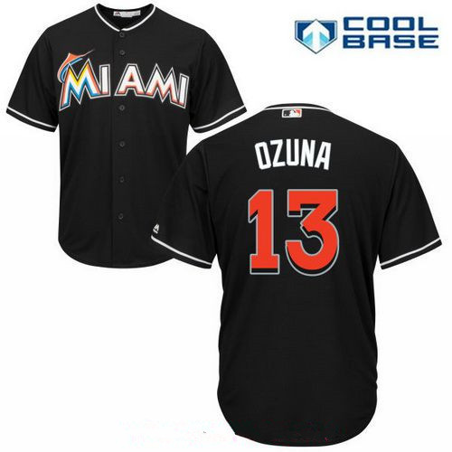Miami Marlins #13 Marcell Ozuna Black Alternate Stitched MLB Majestic Cool Base Jersey