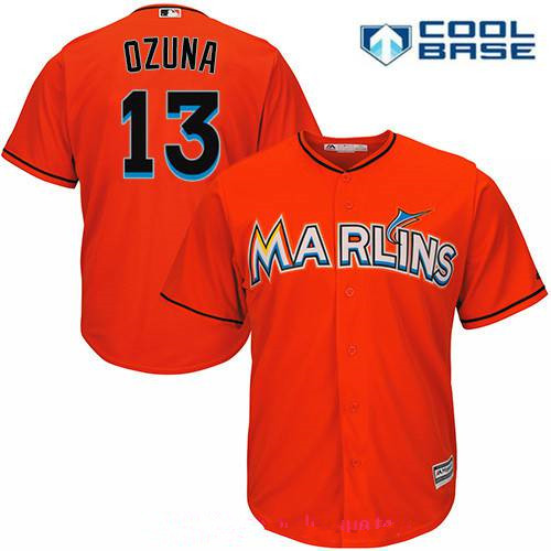 Miami Marlins #13 Marcell Ozuna Orange Alternate Stitched MLB Majestic Cool Base Jersey