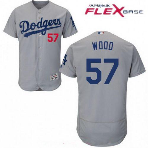 Los Angeles Dodgers #57 Alex Wood Gray Alternate Stitched MLB Majestic Flex Base Jersey