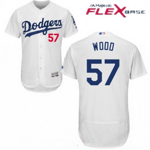 Los Angeles Dodgers #57 Alex Wood White Home Stitched MLB Majestic Flex Base Jersey