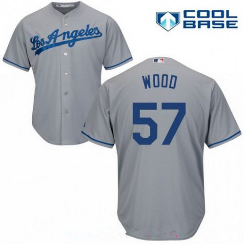 Men's Los Angeles Dodgers #57 Alex Wood Gray Road Stitched MLB Majestic Cool Base Jersey