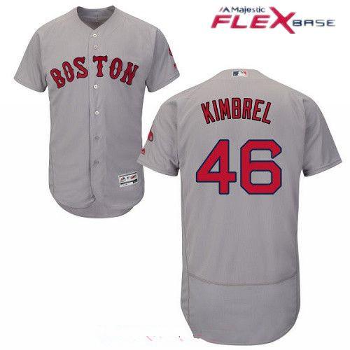 Men's Boston Red Sox #46 Craig Kimbrel Gray Road Stitched MLB Majestic Flex Base Jersey