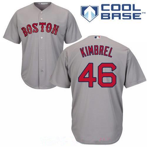Men's Boston Red Sox #46 Craig Kimbrel Gray Road Stitched MLB Majestic Cool Base Jersey