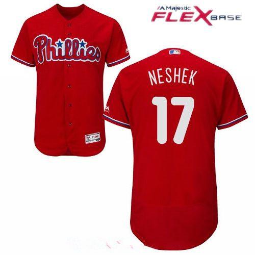 Men's Philadelphia Phillies #17 Pat Neshek Red Alternate Stitched MLB Majestic Flex Base Jersey