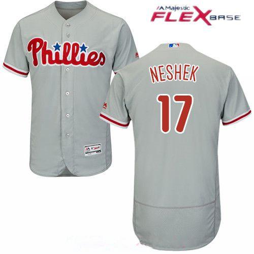 Men's Philadelphia Phillies #17 Pat Neshek Gray Road Stitched MLB Majestic Flex Base Jersey