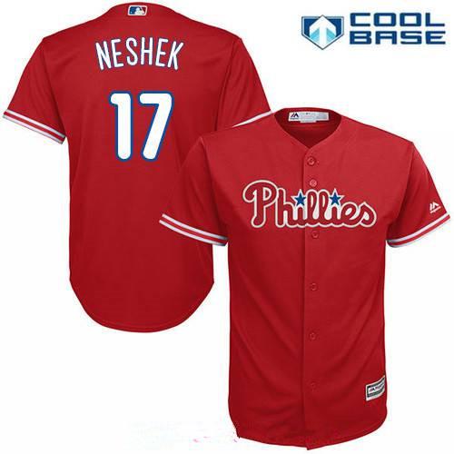 Men's Philadelphia Phillies #17 Pat Neshek Red Alternate Stitched MLB Majestic Cool Base Jersey