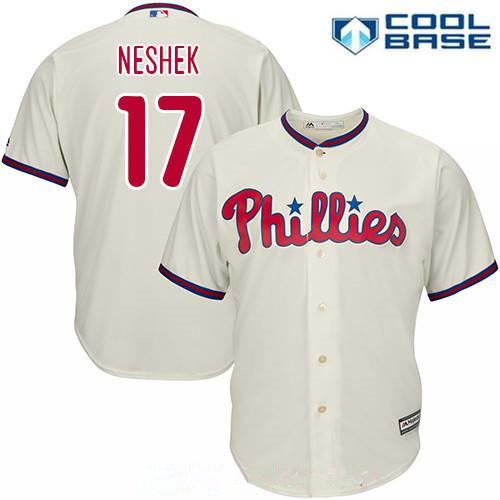 Men's Philadelphia Phillies #17 Pat Neshek Cream Alternate Gray Road Stitched MLB Majestic Cool Base