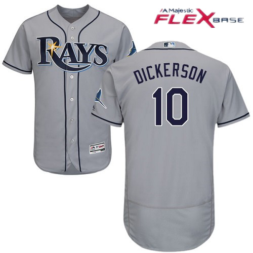 Men's Tampa Bay Rays #10 Corey Dickerson Gray Road Stitched MLB Majestic Flex Base Jersey