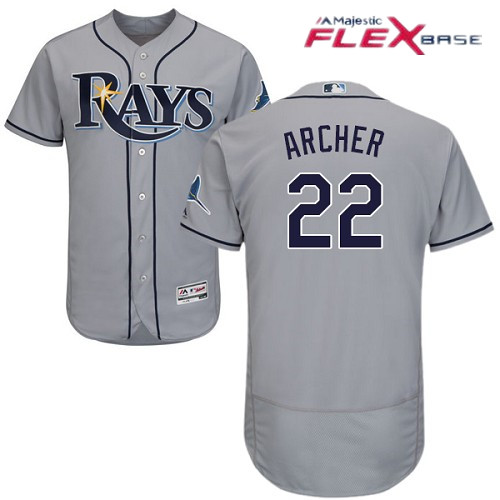 Men's Tampa Bay Rays #22 Chris Archer Gray Road Stitched MLB Majestic Flex Base Jersey