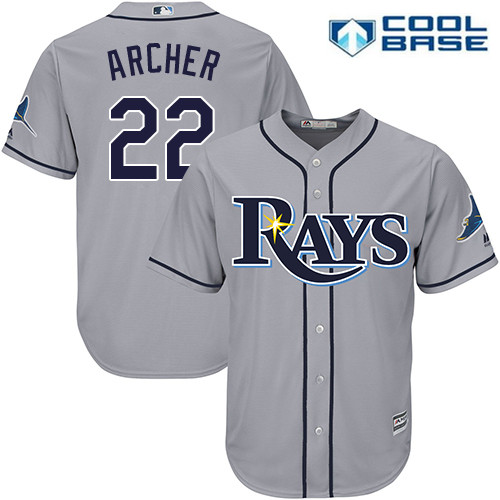 Men's Tampa Bay Rays #22 Chris Archer Gray Road Stitched MLB Majestic Cool Base Jersey