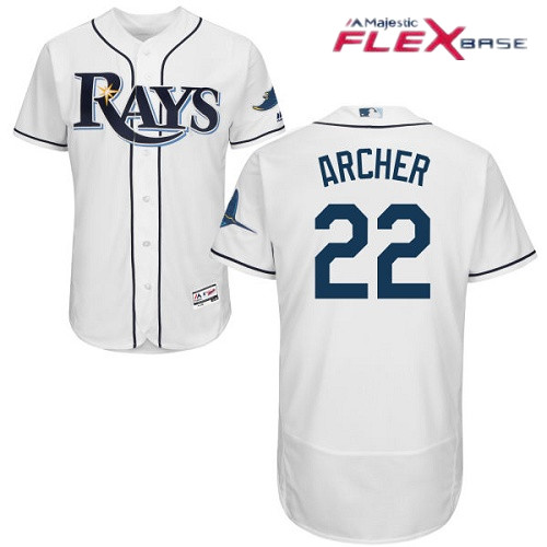 Men's Tampa Bay Rays #22 Chris Archer White Home Stitched MLB Majestic Flex Base Jersey