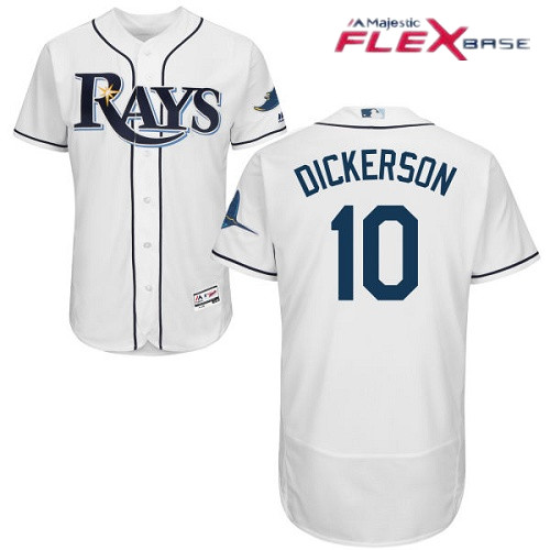 Men's Tampa Bay Rays #10 Corey Dickerson White Home Stitched MLB Majestic Flex Base Jersey