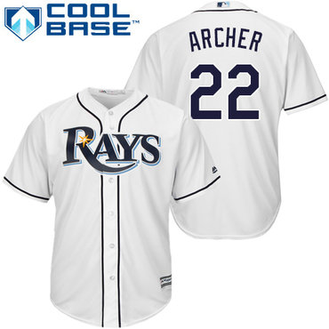 Men's Tampa Bay Rays #22 Chris Archer White Home Stitched MLB Majestic Cool Base Jersey