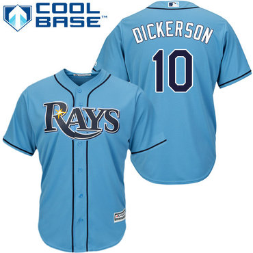 Men's Tampa Bay Rays #10 Corey Dickerson Light Blue Alternate Stitched MLB Majestic Cool Base Jersey