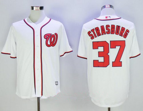 Men's Washington Nationals #37 Stephen Strasburg White Home Stitched MLB Majestic Cool Base Jersey