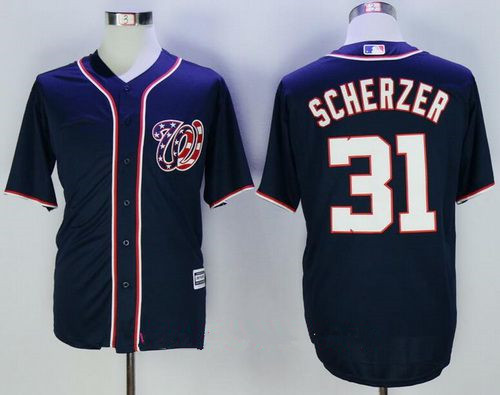 Men's Washington Nationals #31 Max Scherzer Navy Blue Alternate Stitched MLB Majestic Cool Base Jersey