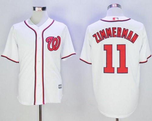 Men's Washington Nationals #11 Ryan Zimmerman White Home Stitched MLB Majestic Cool Base Jersey