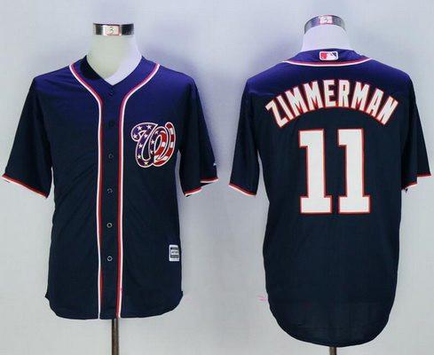 Men's Washington Nationals #11 Ryan Zimmerman Navy Blue Alternate Stitched MLB Majestic Cool Base Jersey
