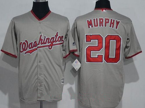 Men's Washington Nationals #20 Daniel Murphy Gray Road Stitched MLB Majestic Cool Base Jersey