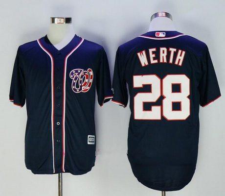 Men's Washington Nationals #28 Jayson Werth Navy Blue Alternate Stitched MLB Majestic Cool Base Jersey