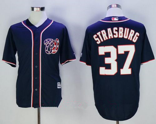 Men's Washington Nationals #37 Stephen Strasburg Navy Blue Alternate Stitched MLB Majestic Cool Base Jersey