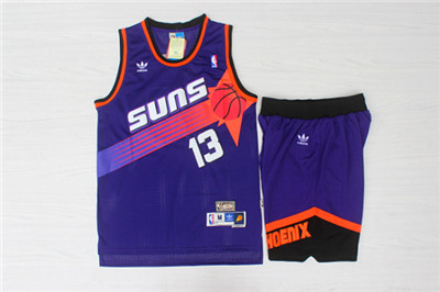 Phoenix Suns 13 Steve Nash Purple Hardwood Classics Jersey(With Shorts)