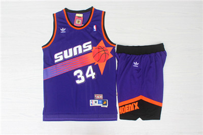 Phoenix Suns 34 Charles Barkley Purple Hardwood Classics Jersey(With Shorts)