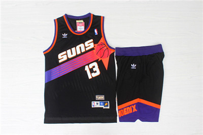 Phoenix Suns 13 Steve Nash Black Hardwood Classics Jersey(With Shorts)