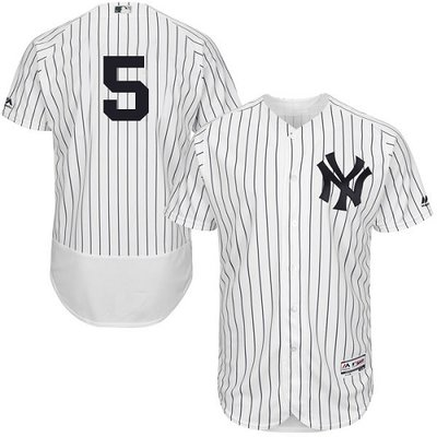 New York Yankees #5 Joe DiMaggio White Strip Flexbase Authentic Collection Stitched MLB Jersey