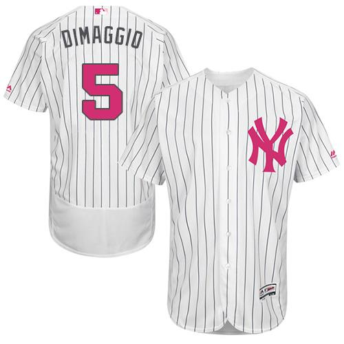 New York Yankees #5 Joe DiMaggio White Strip Flexbase Authentic Collection 2016 Mother's Day Stitched MLB Jersey