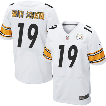 Nike Pittsburgh Steelers #19 JuJu Smith-Schuster White Men's Stitched NFL Elite Jersey