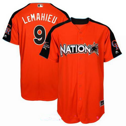 Men's National League Colorado Rockies #9 DJ LeMahieu Majestic Orange 2017 MLB All-Star Game Home Run Derby Player Jersey