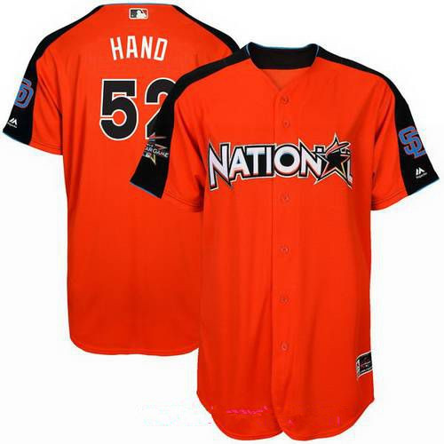 Men's National League San Diego Padres #52 Brad Hand Majestic Orange 2017 MLB All-Star Game Home Run Derby Player Jersey