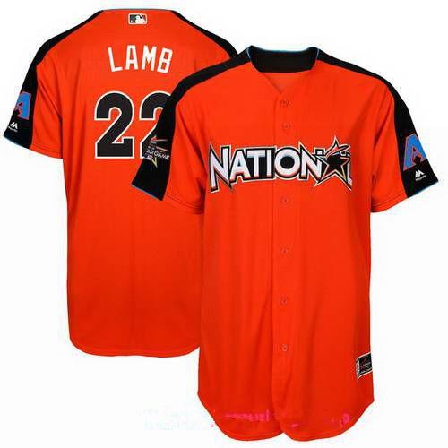 Men's National League Arizona Diamondbacks #22 Jake Lamb Majestic Orange 2017 MLB All-Star Game Home Run Derby Player Jersey