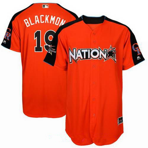 Men's National League Colorado Rockies #19 Charlie Blackmon Majestic Orange 2017 MLB All-Star Game Home Run Derby Player Jersey