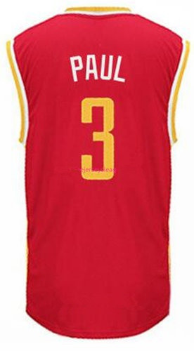 Men's Houston Rockets #3 Chris Paul Red With Gold Stitched NBA Adidas Revolution 30 Swingman Jersey