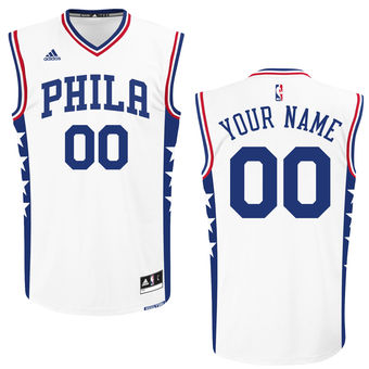 Men's Philadelphia 76ers adidas White Custom Replica Home Jersey