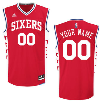 Men's Philadelphia 76ers adidas Red Custom Replica Alternate Jersey