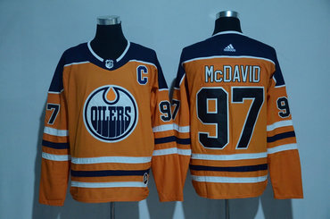Men's Edmonton Oilers #97 Connor McDavid Orange C Patch 2017-2018 adidas Hockey Stitched NHL Jersey