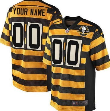 Men's Nike Pittsburgh Steelers Blank (no name and no number)Yellow With Black Throwback 80TH Jersey
