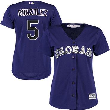 Rockies #5 Carlos Gonzalez Purple Alternate Women's Stitched MLB Jersey