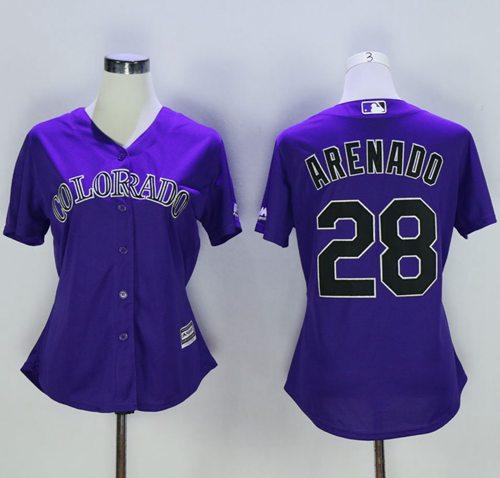 Rockies #28 Nolan Arenado Purple Alternate Women's Stitched MLB Jersey