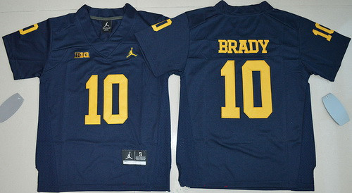 Youth Michigan Wolverines #10 Tom Brady Navy Blue Stitched NCAA Brand Jordan College Football Jersey