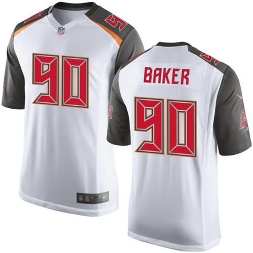 Men's Tampa Bay Buccaneers #90 Chris Baker White Road NFL Nike Elite Jersey