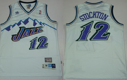 Utah Jazz #12 John Stockton Mountain White Hardwood Classics Soul Swingman Throwback Jersey