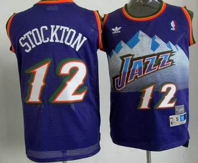 Utah Jazz #12 John Stockton Mountain Purple Hardwood Classics Soul Swingman Throwback Jersey