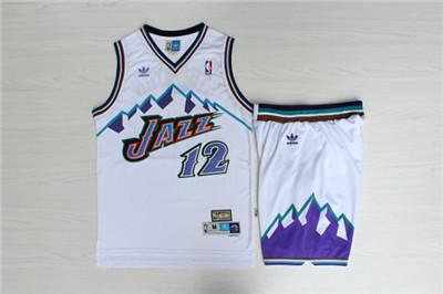 Jazz 12 John Stockton White Hardwood Classics Jersey(With Shorts)