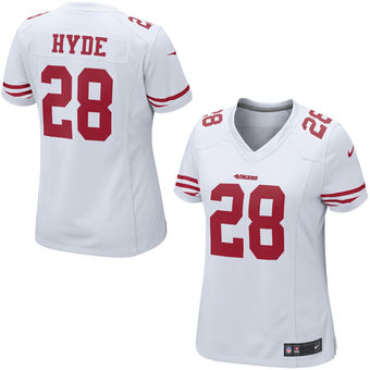 Women's San Francisco 49ers Carlos Hyde Nike White Game Jersey